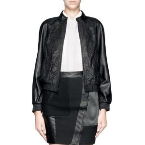 Alice and Olivia Laser Cut leather jacket, XS, NWT